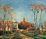 Village Canvas Paintings - Entree du village de Voisins 1872